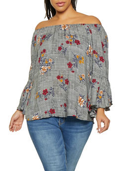 Plus Size Printed Off the Shoulder Top - 8407056121018