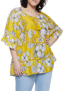 Plus Size Floral Crochet Insert Tie Neck Top - 8407056121160