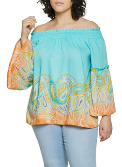 Plus Size Off the Shoulder Paisley Border Print Top | 8407056121260 - 8407056121260