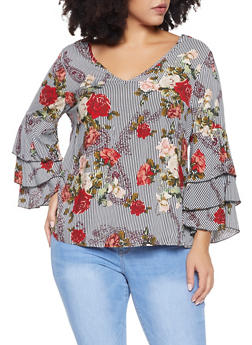 Plus Size Printed Tiered Sleeve Top - 8407056122208