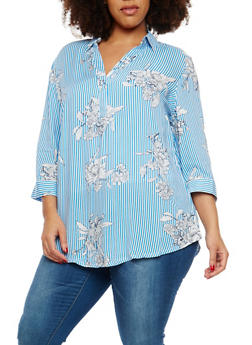 Plus Size Floral Stripe Top - 8407056122578