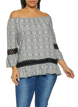 Plus Size Plaid Crochet Trim Off the Shoulder Top - 8407056123018