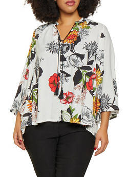 Plus Size Floral Tie Neck Blouse - 8407056123500