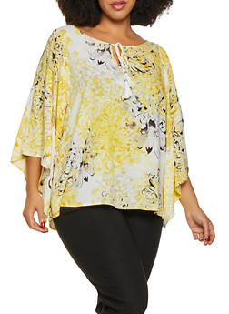 Plus Size Floral Tie Neck Blouse - 8407056123501