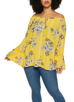 Plus Size Floral Bell Sleeve Blouse - 8407056123505