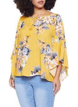 Plus Size Tie Neck Floral Top - 8407056124018