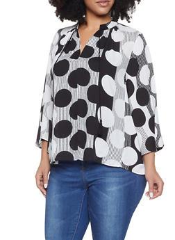 Plus Size Striped Polka Dot Top - 8407056125002
