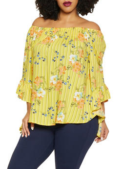 Plus Size Floral Striped Off the Shoulder Top - 8407056125051