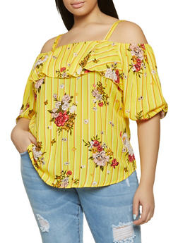 78693f1a4a0 Plus Size Striped Floral Off the Shoulder Top - 8407056125052