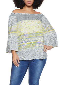 Plus Size Mixed Print Off the Shoulder Top - 8407056125053