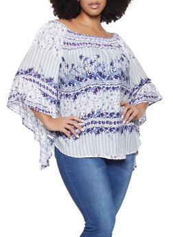 Plus Size Printed Off the Shoulder Bell Sleeve Top - 8407056125054