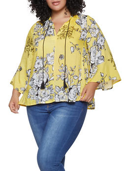Plus Size Floral Bell Sleeve Top - 8407056125055