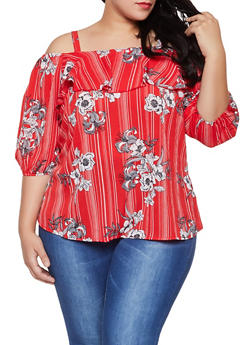 Plus Size Striped Floral Off the Shoulder Top - 8407056125057