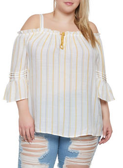 Plus Size Pleated Striped Cold Shoulder Top - 8407056125145