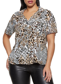 Plus Size Animal Print Button Front Shirt - 8407056125233