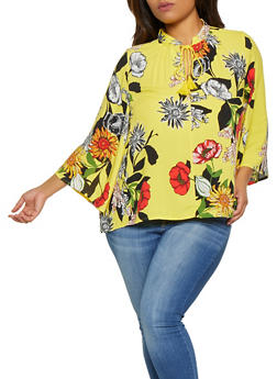 Plus Size Floral Tassel Tie Neck Top - 8407056125300