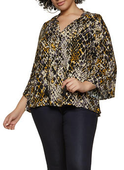 Plus Size Printed V Neck Blouse - 8407056125352