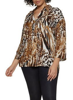 Plus Size Tabbed Sleeve Printed Top - 8407056125353