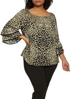 Plus Size Printed Tiered Bell Sleeve Top - 8407056129002