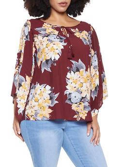 Plus Size Floral Tie Neck Top - 8407056129810