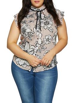 Plus Size Floral Striped Tie Neck Shirt - 8407061632154