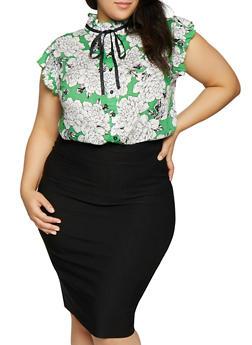 Plus Size Floral Tie Neck Shirt - 8407061635488
