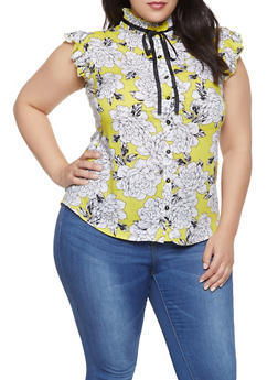Plus Size Floral Tie Neck Shirt - 8407061635488