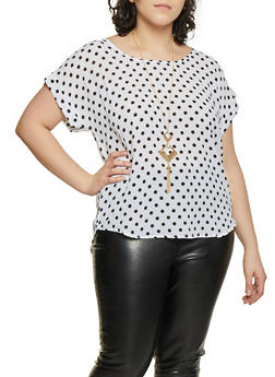 Plus Size Textured Polka Dot Top with Necklace - White - Size 1X - 8407062700342