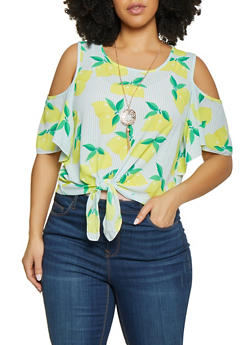 Plus Size Tie Front Cold Shoulder Top with Necklace - 8407062701233