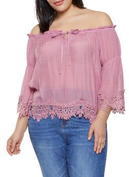 Plus Size Off the Shoulder Tie Neck Top - 8407062701234