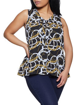 Plus Size Chain Print Tie Neck Blouse - 8407062702500