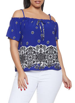 Plus Size Border Print Off the Shoulder Top - 8407062702565