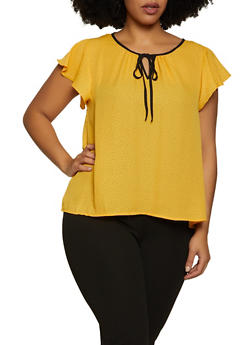 Plus Size Dotted Tie Neck Blouse - 8407062703112