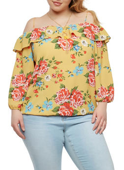 Plus Size Floral Off the Shoulder Top with Necklace - 8407062705440