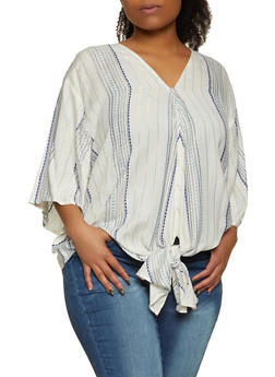 Plus Size Lurex Striped Tie Front Top - 8407063508210