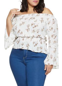Plus Size Off the Shoulder Floral Smocked Top - 8407064465495