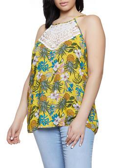 Plus Size Printed Crochet Yoke Tank Top - 8407064467506