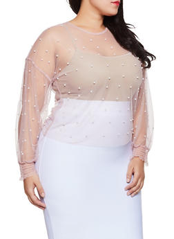 Plus Size Faux Pearl Studded Mesh Top - 8407064467535