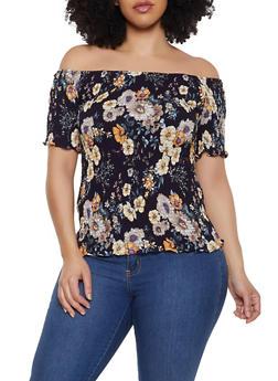 Plus Size Floral Smocked Off the Shoulder Top | 8407064467553 - 8407064467553