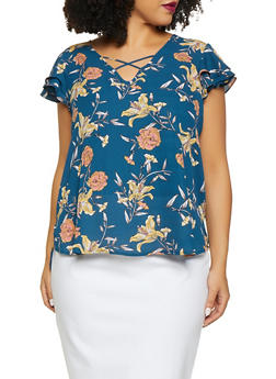 Plus Size Floral Ruffle Sleeve Blouse - 8407072681097