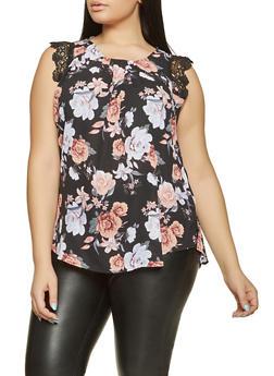 Plus Size Floral Crochet Trim Blouse - 8407072681098