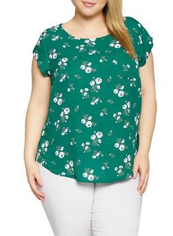 Plus Size Floral Crepe Knit Top - 8407072681099