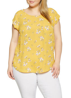 Plus Size Floral Crepe Knit Top - 8407072681099