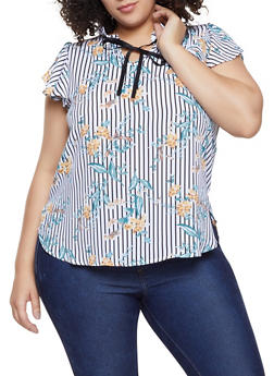 Plus Size Striped Floral Tie Neck Blouse - 8407072681120