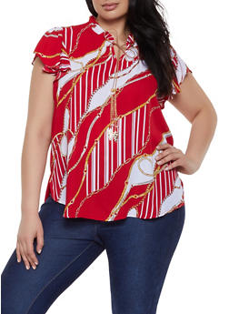 Plus Size Chain Print Tie Neck Blouse - 8407072681155