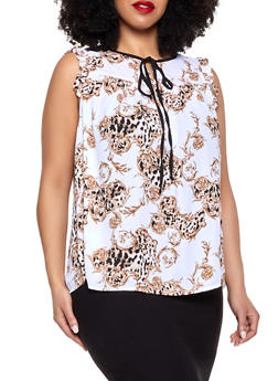 Plus Size Cheetah Swirl Print Blouse - 8407072681158