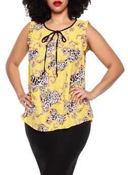 Plus Size Cheetah Swirl Print Blouse - 8407072681158