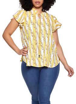 Plus Size Chain Print Blouse - 8407072681161