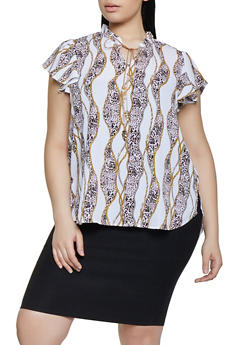 Plus Size Cheetah Chain Print Blouse - 8407072681170