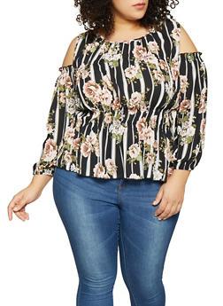 Plus Size Striped Floral Cold Shoulder Top - 8407072681866